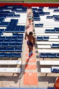 Student running stairs